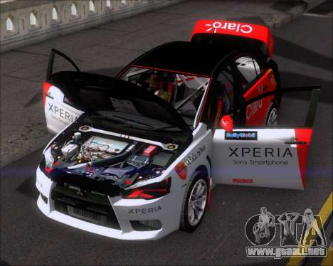 Mitsubushi Lancer Evolution Rally Team Claro para la vista superior GTA San Andreas