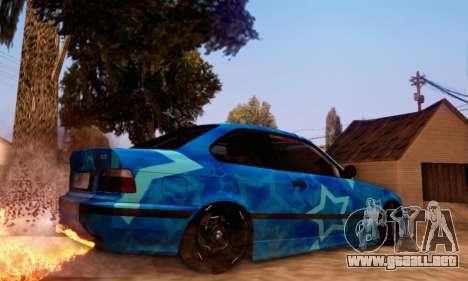 BMW M3 E36 Coupe Blue Star para GTA San Andreas vista hacia atrás