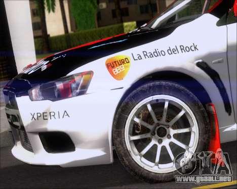 Mitsubushi Lancer Evolution Rally Team Claro para vista lateral GTA San Andreas