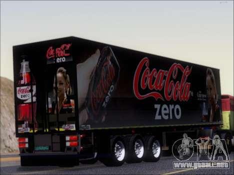 Trailer Chereau Coca-Cola Zero Camión para la visión correcta GTA San Andreas