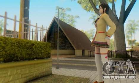 Kokoro wearing a school uniform (DOA5) para GTA San Andreas quinta pantalla