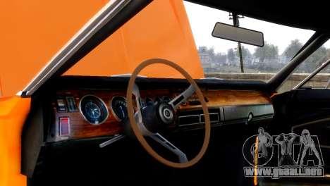 Dodge Charger RT 1970 para GTA 4 vista hacia atrás