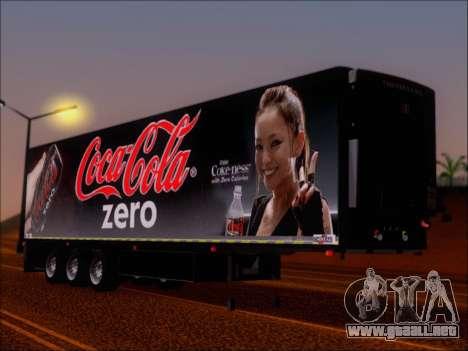 Trailer Chereau Coca-Cola Zero Camión para GTA San Andreas left