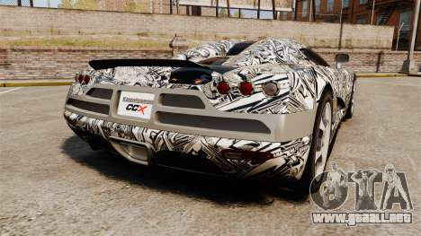 Koenigsegg CCX v1.5 para GTA 4 Vista posterior izquierda