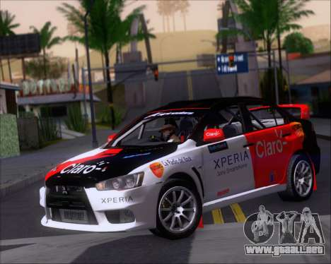 Mitsubushi Lancer Evolution Rally Team Claro para GTA San Andreas left