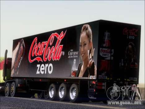 Trailer Chereau Coca-Cola Zero Camión para GTA San Andreas vista posterior izquierda