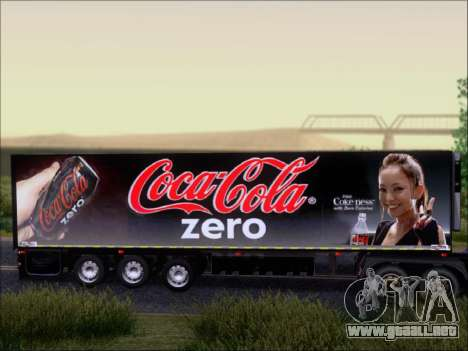 Trailer Chereau Coca-Cola Zero Camión para GTA San Andreas vista hacia atrás