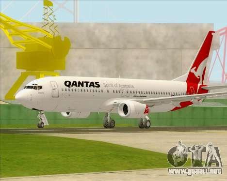 Boeing 737-838 Qantas para GTA San Andreas vista posterior izquierda