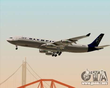 Airbus A340-313 Olympic Airlines para vista inferior GTA San Andreas