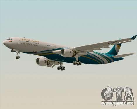 Airbus A330-300 Oman Air para vista lateral GTA San Andreas