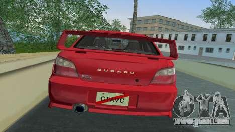 Subaru Impreza WRX 2002 Type 6 para GTA Vice City vista posterior