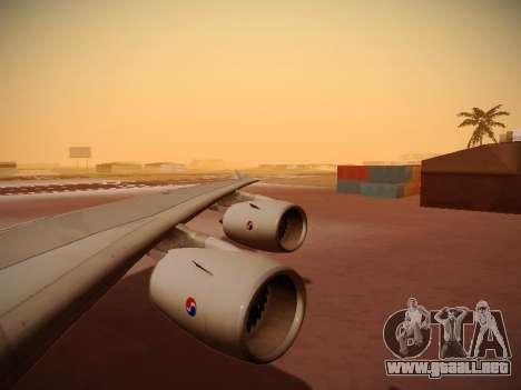 Airbus A380-800 Korean Air para vista inferior GTA San Andreas