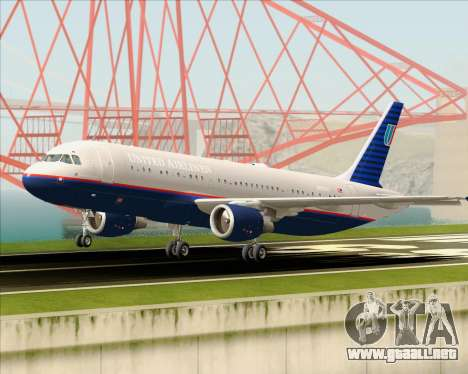 Airbus A320-232 United Airlines (Old Livery) para la vista superior GTA San Andreas