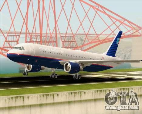 Airbus A320-232 United Airlines (Old Livery) para la vista superior GTA San Andreas