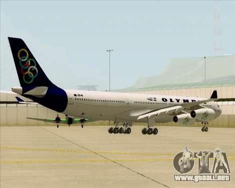 Airbus A340-313 Olympic Airlines para GTA San Andreas vista hacia atrás