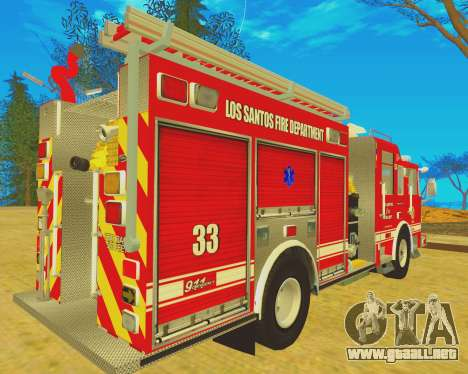 Pierce Arrow XT 2008 Los Santos Fire Department para GTA San Andreas vista posterior izquierda