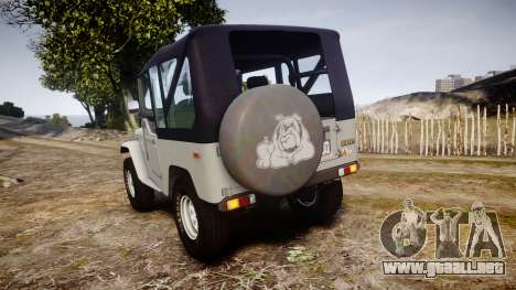Toyota FJ40 Land Cruiser Soft Top 1978 para GTA 4 Vista posterior izquierda