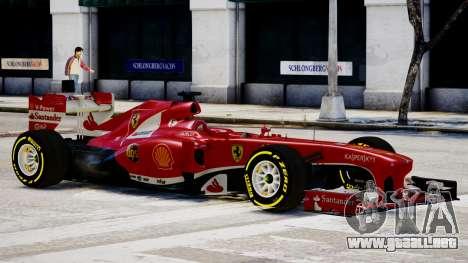 Ferrari F138 v2 para GTA 4 Vista posterior izquierda