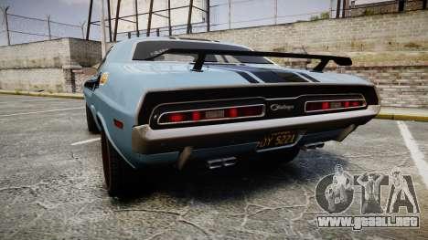 Dodge Challenger 1971 v2.2 PJ2 para GTA 4 Vista posterior izquierda