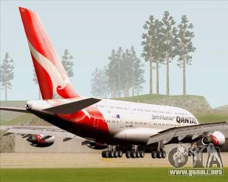 Airbus A380-841 Qantas para GTA San Andreas vista posterior izquierda