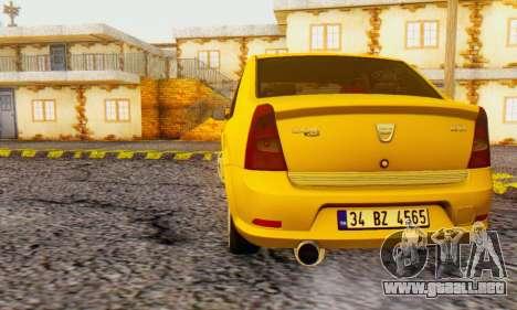 Dacia Logan Delta Garage para GTA San Andreas vista posterior izquierda