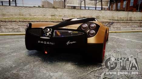 Pagani Huayra 2013 para GTA 4 Vista posterior izquierda