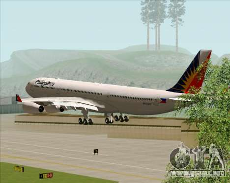 Airbus A340-313 Philippine Airlines para vista lateral GTA San Andreas