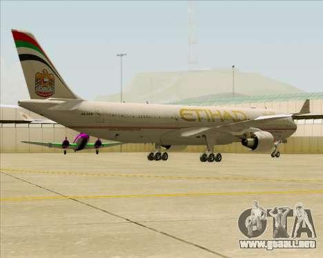 Airbus A330-300 Etihad Airways para GTA San Andreas vista hacia atrás