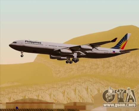 Airbus A340-313 Philippine Airlines para vista inferior GTA San Andreas