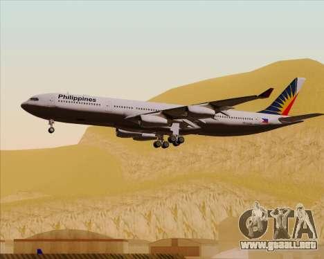 Airbus A340-313 Philippine Airlines para vista inferior GTA San Andreas