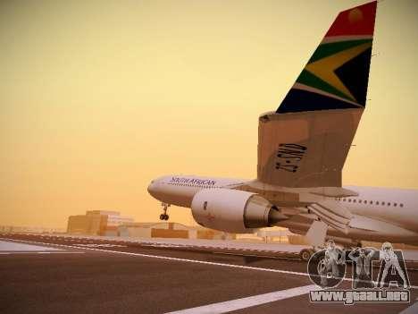 Airbus A340-600 South African Airways para vista inferior GTA San Andreas