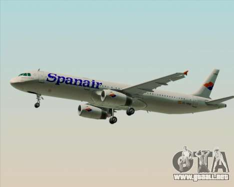 Airbus A321-231 Spanair para GTA San Andreas vista posterior izquierda
