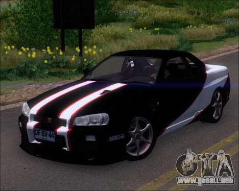 Nissan Skyline GT-R R34 V-Spec II para el motor de GTA San Andreas