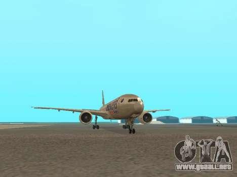 Boeing 777-223ER American Silver Bullet para GTA San Andreas vista hacia atrás