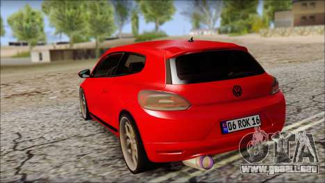 Volkswagen Scirocco Soft Tuning para GTA San Andreas vista posterior izquierda