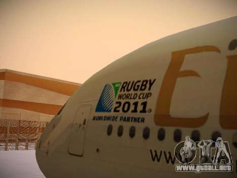 Airbus A380-800 Emirates Rugby World Cup para vista lateral GTA San Andreas