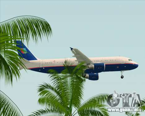 Airbus A320-232 United Airlines (Old Livery) para vista inferior GTA San Andreas
