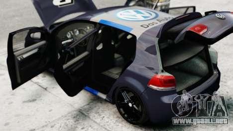 Volkswagen Golf R 2010 Polo WRC Style PJ2 para GTA 4 vista hacia atrás