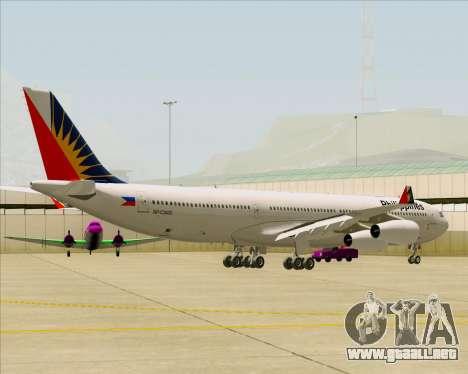 Airbus A340-313 Philippine Airlines para GTA San Andreas vista hacia atrás