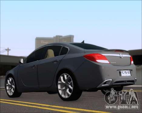 Opel Insignia OPC para GTA San Andreas vista posterior izquierda