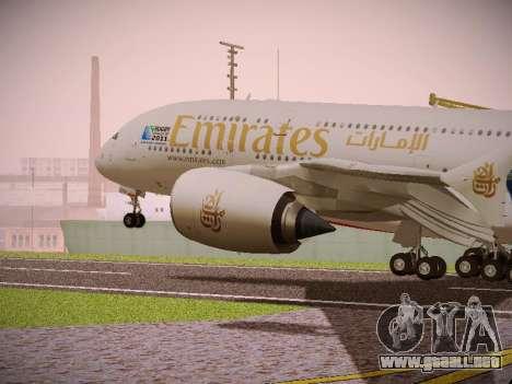 Airbus A380-800 Emirates Rugby World Cup para GTA San Andreas vista hacia atrás