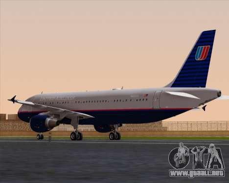 Airbus A320-232 United Airlines (Old Livery) para GTA San Andreas vista posterior izquierda