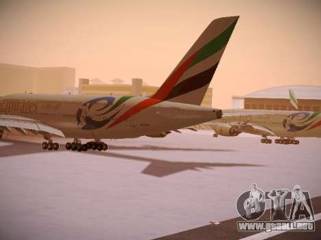 Airbus A380-800 Emirates Rugby World Cup para GTA San Andreas vista posterior izquierda