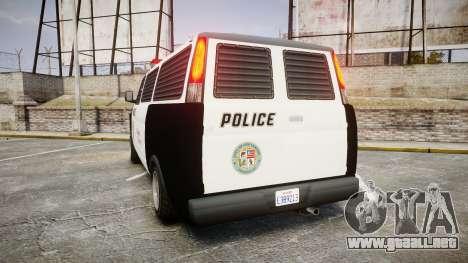 Declasse Burrito Police Transporter ROTORS [ELS] para GTA 4 Vista posterior izquierda