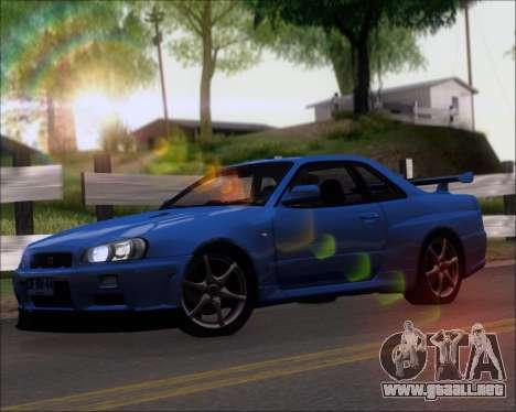 Nissan Skyline GT-R R34 V-Spec II para GTA San Andreas left