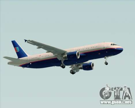 Airbus A320-232 United Airlines (Old Livery) para vista lateral GTA San Andreas