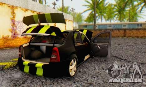 Dacia Logan Black Style para GTA San Andreas vista hacia atrás