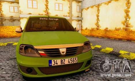 Dacia Logan Delta Garage para GTA San Andreas vista hacia atrás