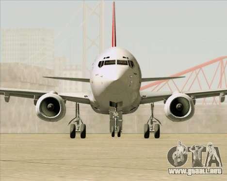 Boeing 737-838 Qantas para vista inferior GTA San Andreas