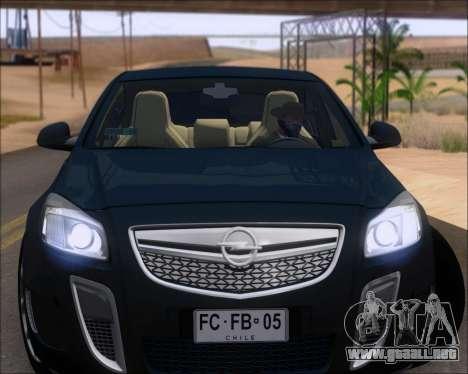 Opel Insignia OPC para GTA San Andreas vista hacia atrás